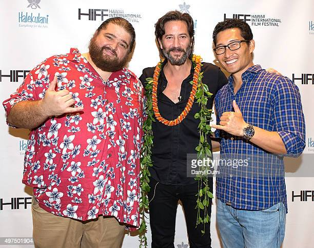 Actors Jorge Garcia Henry Ian Cusick and Daniel Dae Kim arrives at the 2015 Hawaii International Film Festival for the world premiere of 'Pali Road'...