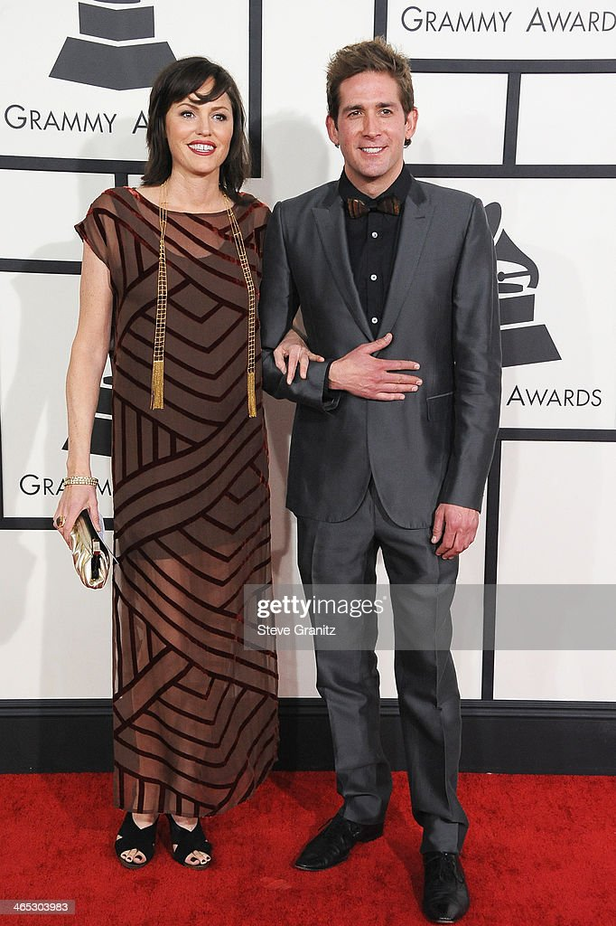Actors Jorja Fox (L) and Eric Szmanda attend the 56th GRAMMY Awards at Staples Center on January 26, 2014 in Los Angeles, California.