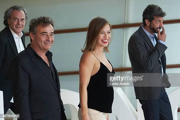 Actors Jose Coronado Eduard Fernandez actress Marta Etura and director Alberto Rodriguez attend 'El Hombre De las Mil Caras' photocall at the Kursaal...