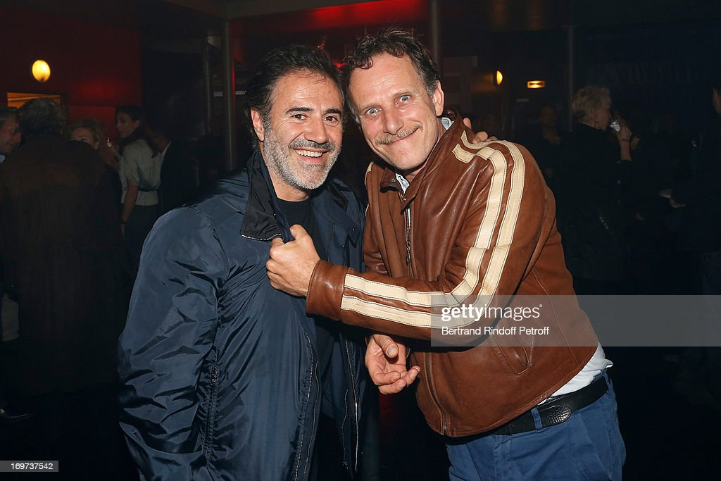 Actors Jose Garcia and Charles Berling backstage after Patrick Bruel's concert at Zenith de Paris on May 30 2013 in Paris France