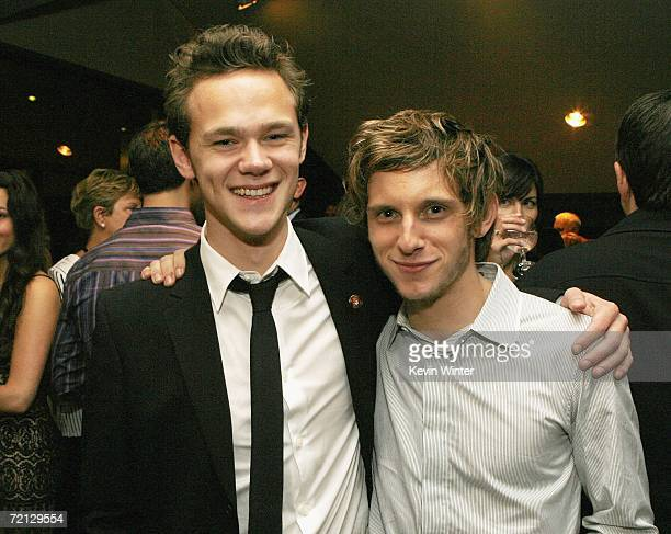Actors Joseph Cross and Jamie Bell pose at the afterparty for the premiere of Paramount's 'Flags Of Our Fathers' at the Academy of Motion Picture...