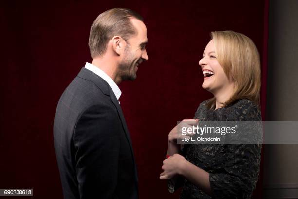 Actors Joseph Fiennes and Elisabeth Moss of Hulu's 'The Handmaid's Tale' are photographed for Los Angeles Times on April 25 2017 in Los Angeles...
