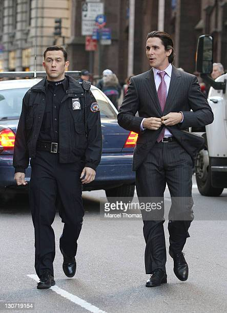 Actors Joseph Gordon Leavitt and Christian Bale are seen on the set of the movie ' The Dark Knight Rises' on location in midtown Manhattan on October...
