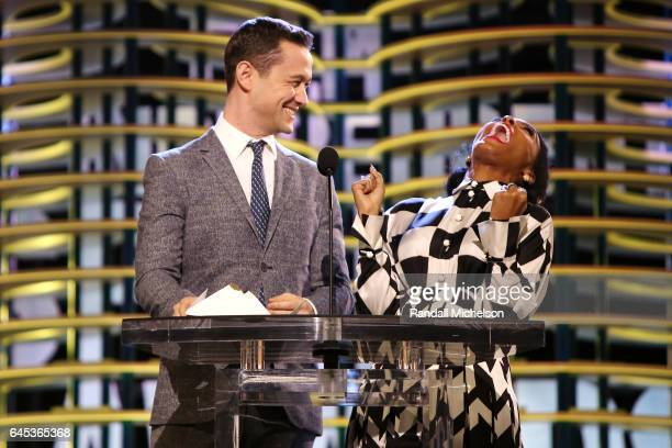 Actors Joseph GordonLevitt and Jhené Aiko speak onstage during the 2017 Film Independent Spirit Awards at the Santa Monica Pier on February 25 2017...
