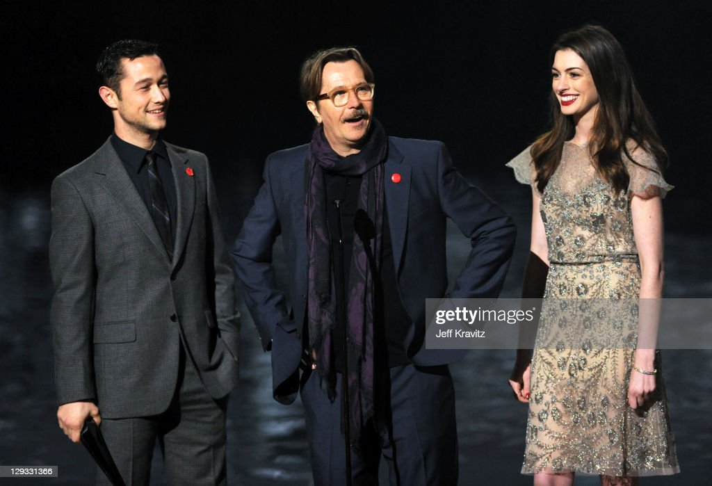 Actors Joseph GordonLevitt Anne Hathaway and Gary Oldman onstage during Spike TV's 'Scream 2011' at Universal Studios on October 15 2011 in Universal...
