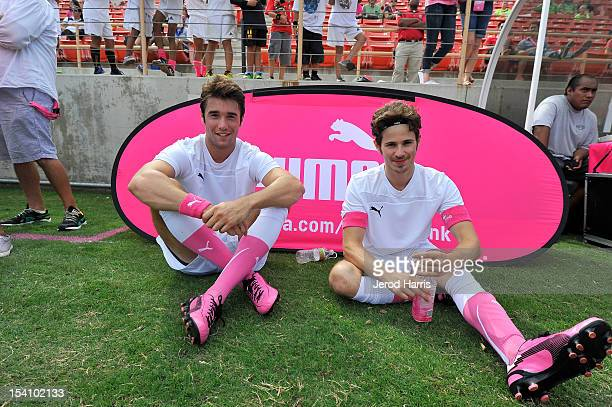 Actors Josh Bowman and Connor Paolo take a break from the action at the PUMA Project Pink Celebrity Soccer Match on October 13 2012 in Fullerton...