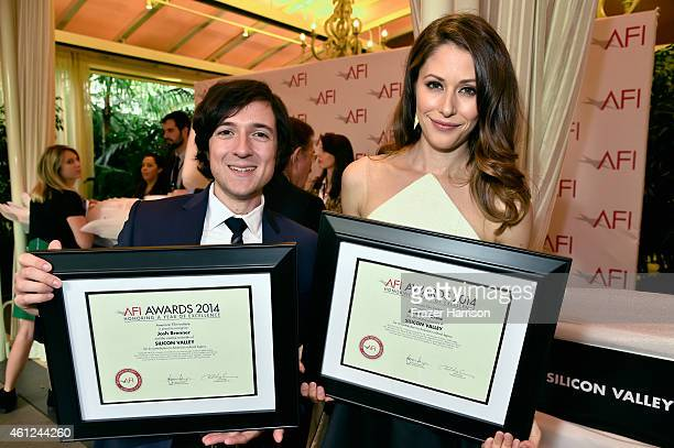 Actors Josh Brener and Amanda Crew pose with awards during the 15th Annual AFI Awards at Four Seasons Hotel Los Angeles at Beverly Hills on January 9...