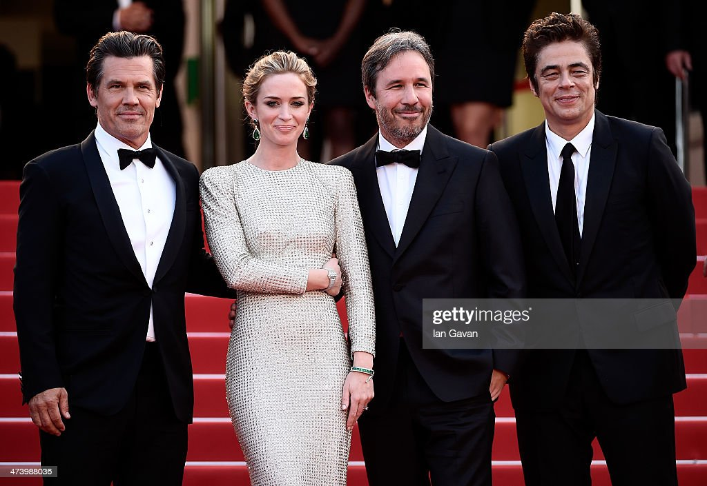 Actors <a gi-track='captionPersonalityLinkClicked' href=/galleries/search?phrase=Josh+Brolin&family=editorial&specificpeople=243198 ng-click='$event.stopPropagation()'>Josh Brolin</a> and <a gi-track='captionPersonalityLinkClicked' href=/galleries/search?phrase=Emily+Blunt&family=editorial&specificpeople=213480 ng-click='$event.stopPropagation()'>Emily Blunt</a>, director <a gi-track='captionPersonalityLinkClicked' href=/galleries/search?phrase=Denis+Villeneuve&family=editorial&specificpeople=6688941 ng-click='$event.stopPropagation()'>Denis Villeneuve</a> and actor Benicio Del Toro attend the 'Sicario' premiere during the 68th annual Cannes Film Festival on May 19, 2015 in Cannes, France.