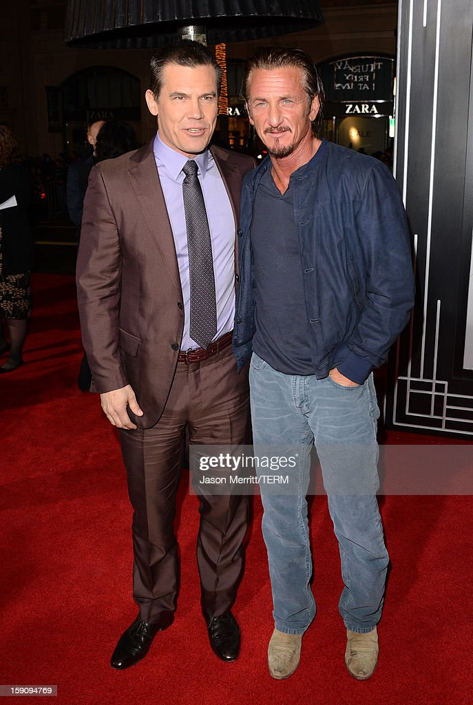 Actors <a gi-track='captionPersonalityLinkClicked' href=/galleries/search?phrase=Josh+Brolin&family=editorial&specificpeople=243198 ng-click='$event.stopPropagation()'>Josh Brolin</a> and <a gi-track='captionPersonalityLinkClicked' href=/galleries/search?phrase=Sean+Penn&family=editorial&specificpeople=202979 ng-click='$event.stopPropagation()'>Sean Penn</a> arrive at Warner Bros. Pictures' 'Gangster Squad' premiere at Grauman's Chinese Theatre on January 7, 2013 in Hollywood, California.