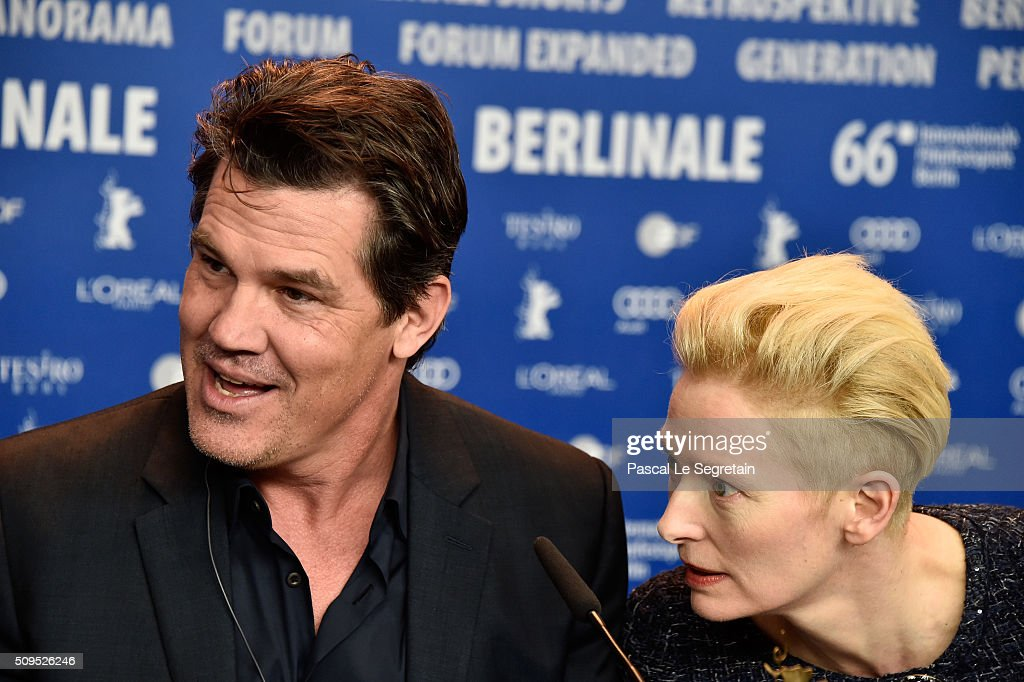 Actors <a gi-track='captionPersonalityLinkClicked' href=/galleries/search?phrase=Josh+Brolin&family=editorial&specificpeople=243198 ng-click='$event.stopPropagation()'>Josh Brolin</a> and <a gi-track='captionPersonalityLinkClicked' href=/galleries/search?phrase=Tilda+Swinton&family=editorial&specificpeople=202991 ng-click='$event.stopPropagation()'>Tilda Swinton</a> attend the 'Hail, Caesar!' press conference during the 66th Berlinale International Film Festival Berlin at Grand Hyatt Hotel on February 11, 2016 in Berlin, Germany.