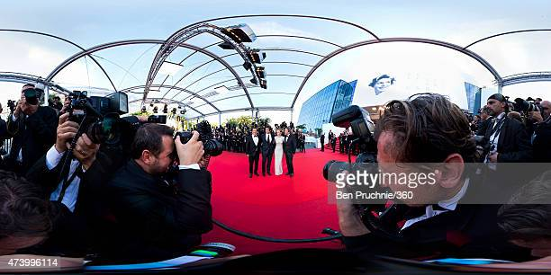 Actors Josh Brolin Benicio Del Toro Emily Blunt and director Denis Villeneuve attend the 'Sicario' Premiere during the 68th annual Cannes Film...