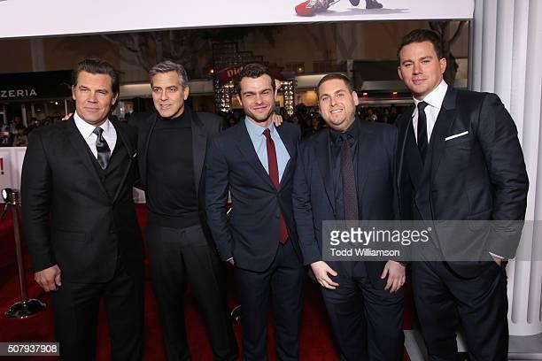 Actors Josh Brolin George Clooney Alden Ehrenreich Jonah Hill and Channing Tatum attend Universal Pictures' 'Hail Caesar' premiere at Regency Village...