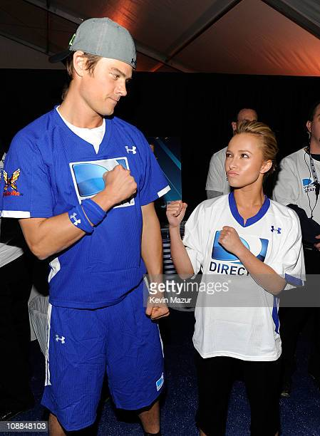 Actors Josh Duhamel and Hayden Panettiere pose during DIRECTV's Fifth Annual Celebrity Beach Bowl at Victory Park on February 5 2011 in Dallas Texas