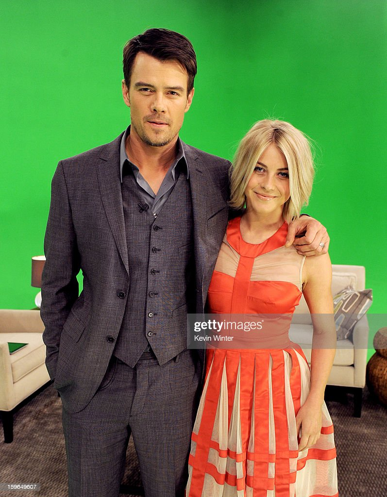 Actors Josh Duhamel (L) and <a gi-track='captionPersonalityLinkClicked' href=/galleries/search?phrase=Julianne+Hough&family=editorial&specificpeople=4237560 ng-click='$event.stopPropagation()'>Julianne Hough</a> pose at A Night with Nicholas Sparks' Safe Haven: Filmmakers, Author and Stars Bring The Book To Life at Castle Studios on January 17, 2013 in Burbank, California.
