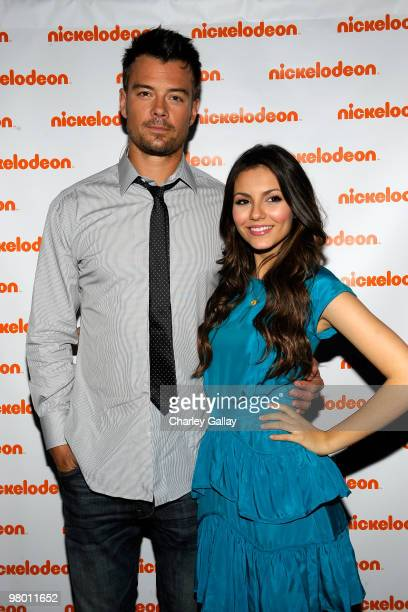 Actors Josh Duhamel and Victoria Justice attend Nickelodeon LA Upfronts held at The Music Box at the Fonda Hollywood on March 24 2010 in Los Angeles...