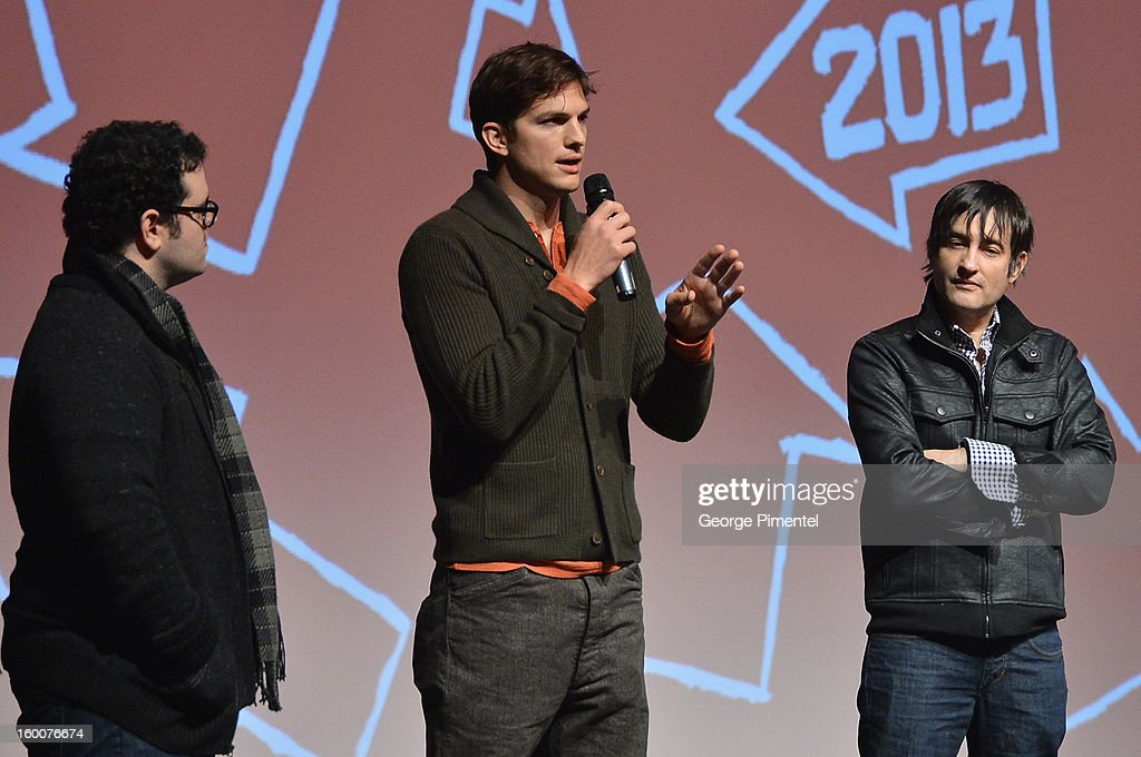 Actors Josh Gad and Ashton Kutcher and director Joshua Michael Stern speak onstage at the 'jOBS' Premiere during the 2013 Sundance Film Festival at Eccles Center Theatre on January 25, 2013 in Park City, Utah.