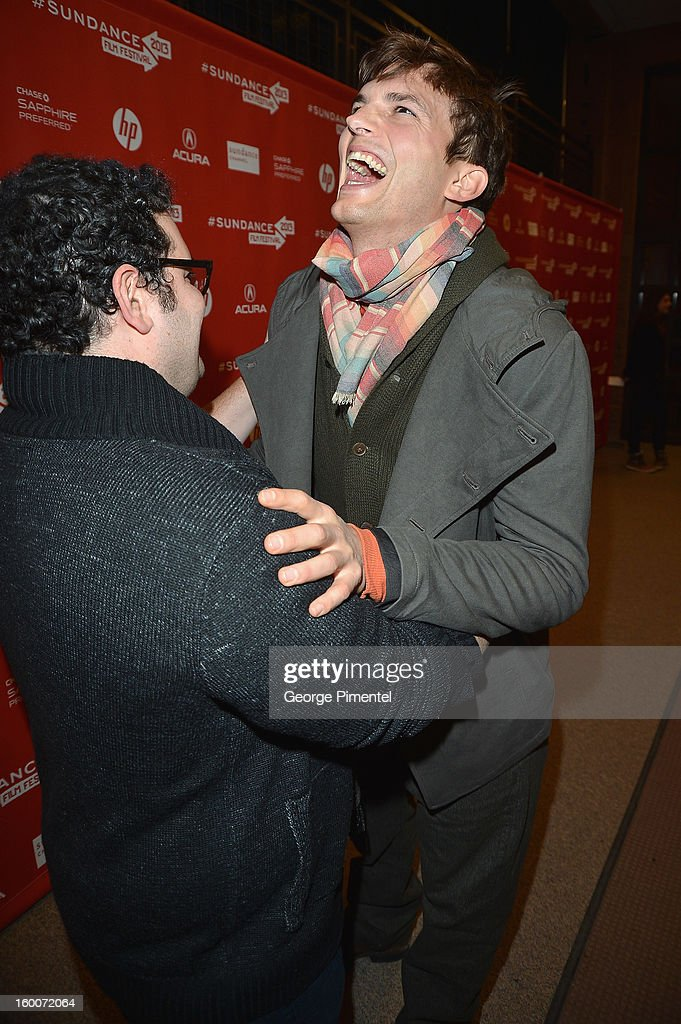 Actors Josh Gad (L) and Ashton Kutcher attend the 'jOBS' Premiere during the 2013 Sundance Film Festival at Eccles Center Theatre on January 25, 2013 in Park City, Utah.