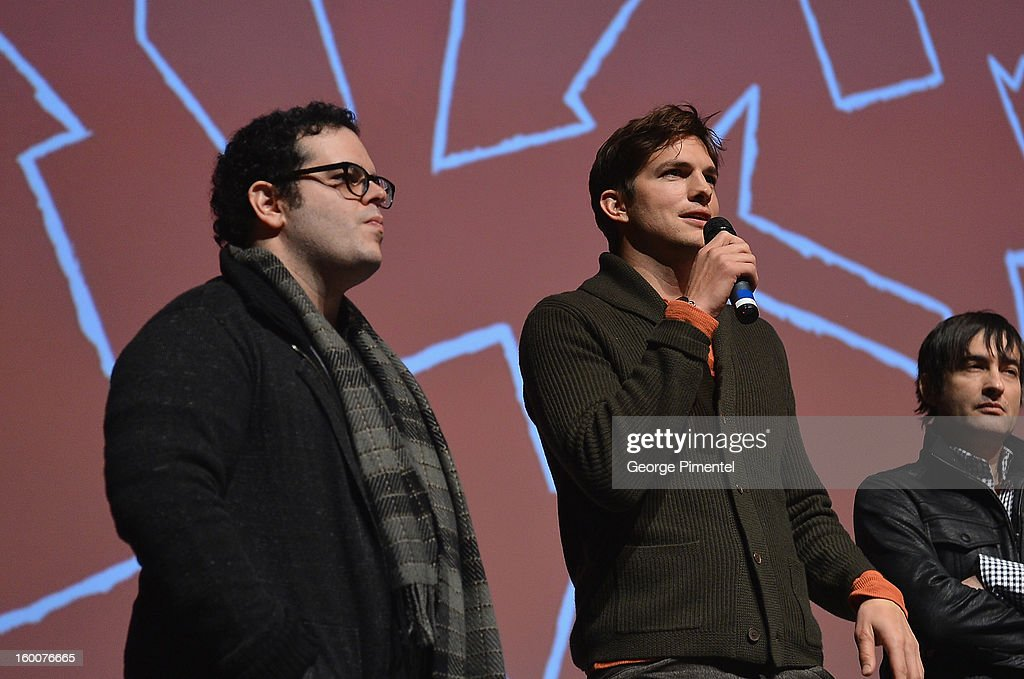 Actors Josh Gad and Ashton Kutcher speak onstage at the 'jOBS' Premiere during the 2013 Sundance Film Festival at Eccles Center Theatre on January 25, 2013 in Park City, Utah.