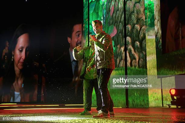Actors Josh Gad and Jason Sudeikis get slimed onstage during Nickelodeon's 2016 Kids' Choice Awards at The Forum on March 12 2016 in Inglewood...