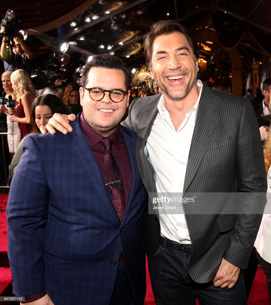 Actors Josh Gad (L) and Javier Bardem arrive for the world premiere of Disney's live-action 'Beauty and the Beast' at the El Capitan Theatre in Hollywood as the cast and filmmakers continue their worldwide publicity tour on March 2, 2017 in Los Angeles, California.