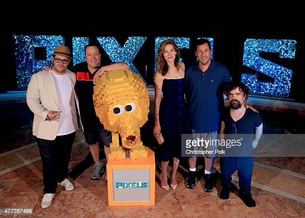 Actors Josh Gad Kevin James Michelle Monaghan Adam Sandler and Peter Dinklage attend the 'Pixels' photo call during Summer Of Sony Pictures...