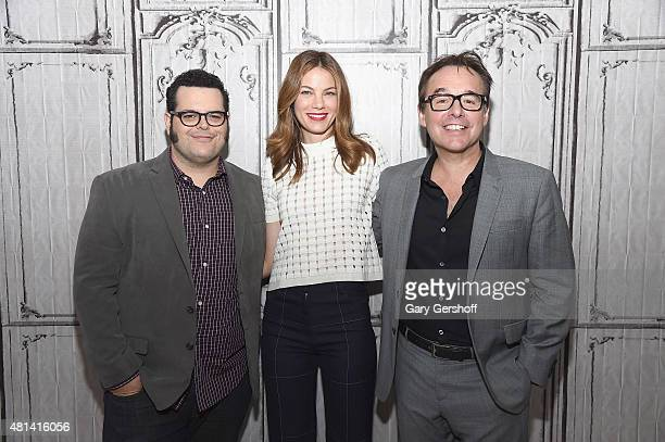 Actors Josh Gad Michelle Monaghan and director Chris Columbus attend AOL BUILD Speaker Series' 'Pixels' at AOL Studios In New York on July 20 2015 in...