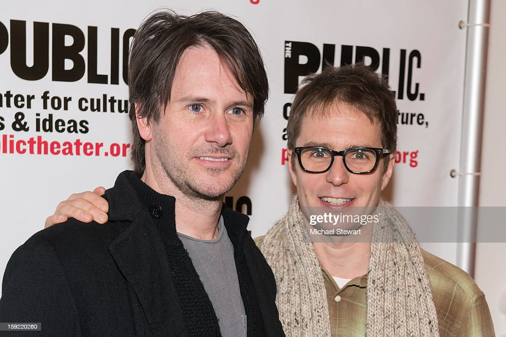 Actors Josh Hamilton (L) and Sam Rockwell attend the Under The Radar Festival 2013 Opening Night Celebration at The Public Theater on January 9, 2013 in New York City.