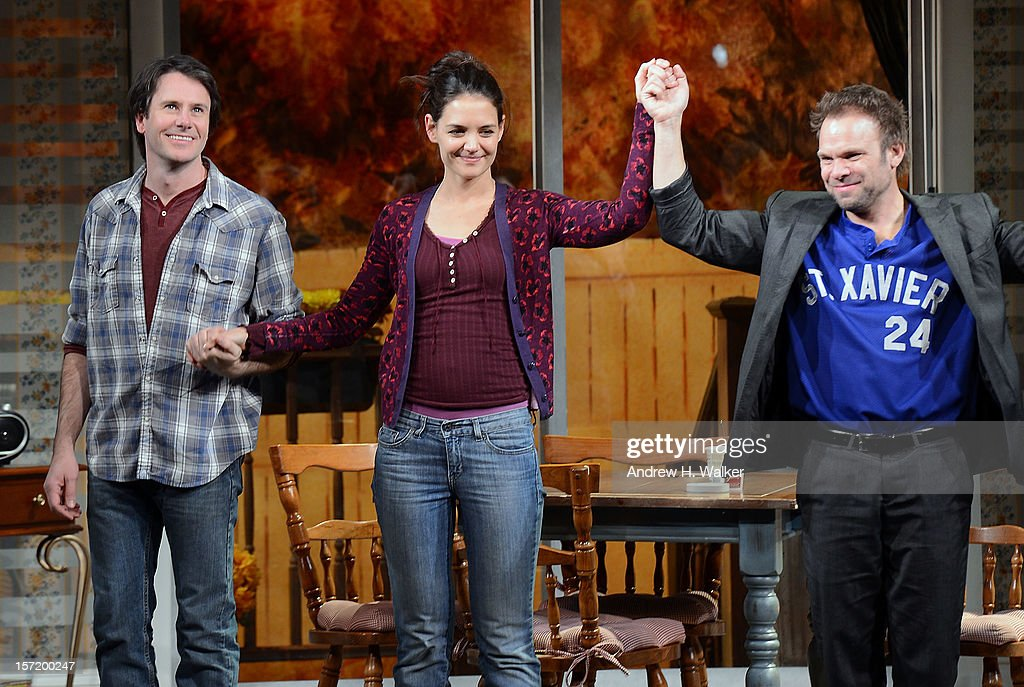 Actors Josh Hamilton, Katie Holmes and Norbert Leo Butz take their curtain call during the 'Dead Accounts' Broadway opening night at the Music Box Theatre on November 29, 2012 in New York City.