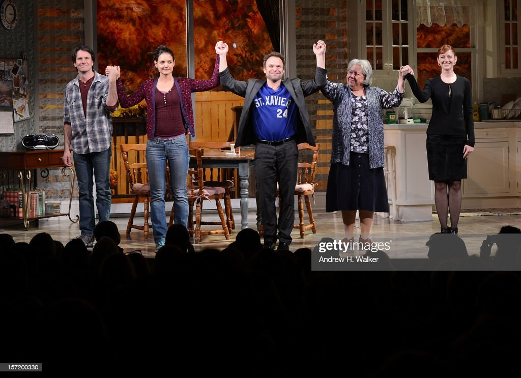 Actors Josh Hamilton, Katie Holmes, Norbert Leo Butz, Jayne Houdyshell and Judy Greer take their curtain call during the 'Dead Accounts' Broadway opening night at the Music Box Theatre on November 29, 2012 in New York City.
