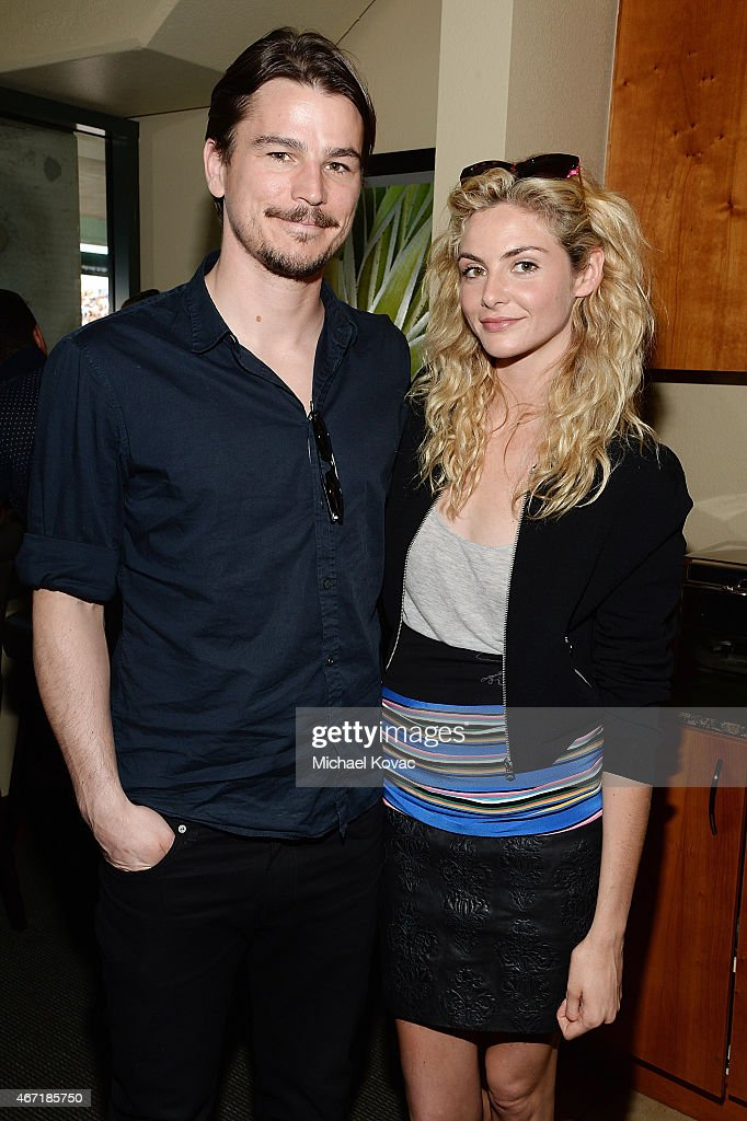 Actors Josh Hartnett (L) and Tamsin Egerton visit The Moet and Chandon Suite at the 2015 BNP Paribas Open on March 21, 2015 in Indian Wells, California.