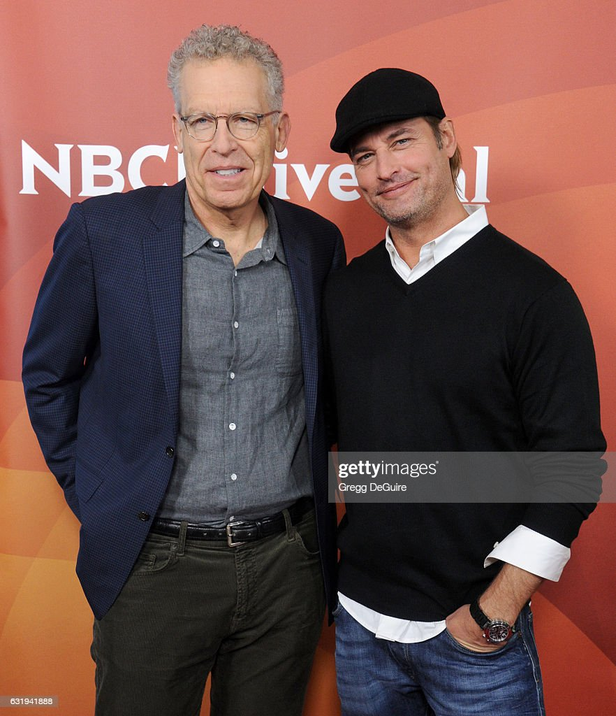 Actors Josh Holloway and Carlton Cuse arrive at the 2017 NBCUniversal Winter Press Tour - Day 1 at Langham Hotel on January 17, 2017 in Pasadena, California.