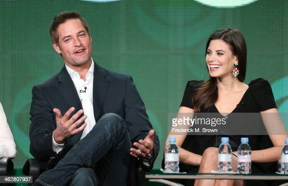 Actors Josh Holloway and Meghan Ory of the television show 'Intelligence' speak onstage during the CBS portion of the 2014 Winter TCA tour at the...