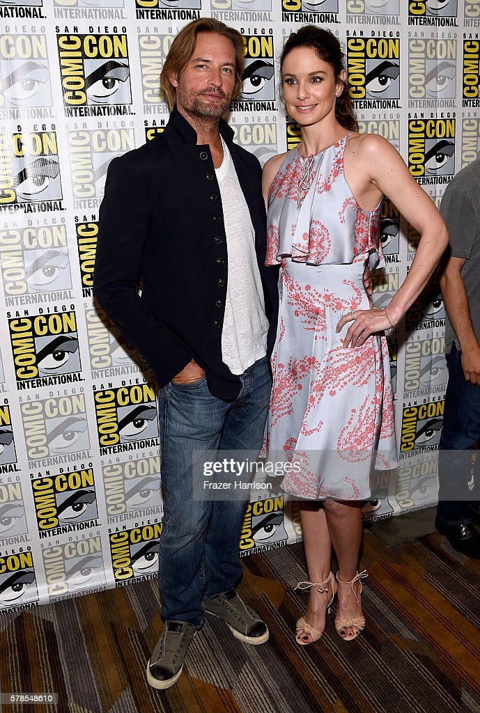 Actors Josh Holloway and Sarah Wayne Callies attend the 'Colony' press line during Comic-Con International 2016 at Hilton Bayfront on July 21, 2016 in San Diego, California.