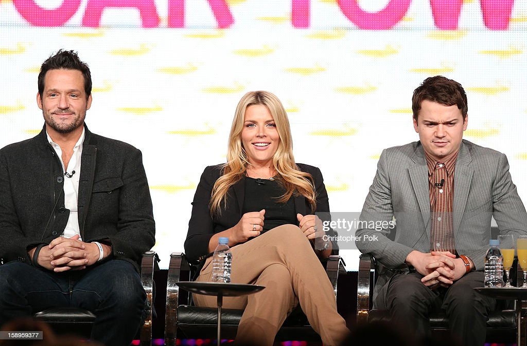 Actors Josh Hopkins, Busy Phillips and Dan Byrd of 'Cougar Town' speak onstage during Turner Broadcasting's 2013 TCA Winter Tour at Langham Hotel on January 4, 2013 in Pasadena, California. 23128_001_CP_0574.JPG