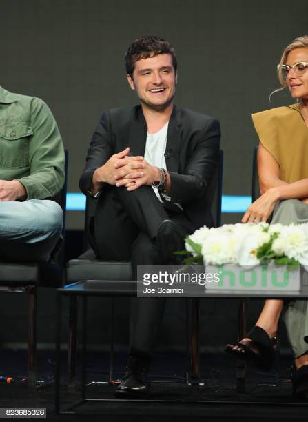 Actors Josh Hutcherson and Eliza Coupe speak onstage during Summer TCA at The Beverly Hilton Hotel on July 27 2017 in Beverly Hills California