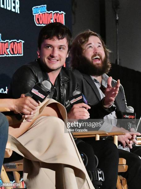 Actors Josh Hutcherson and Haley Joel Osment participate in Hulu's Future Man panel at New York Comic Con at Jacob Javits Center on October 6 2017 in...