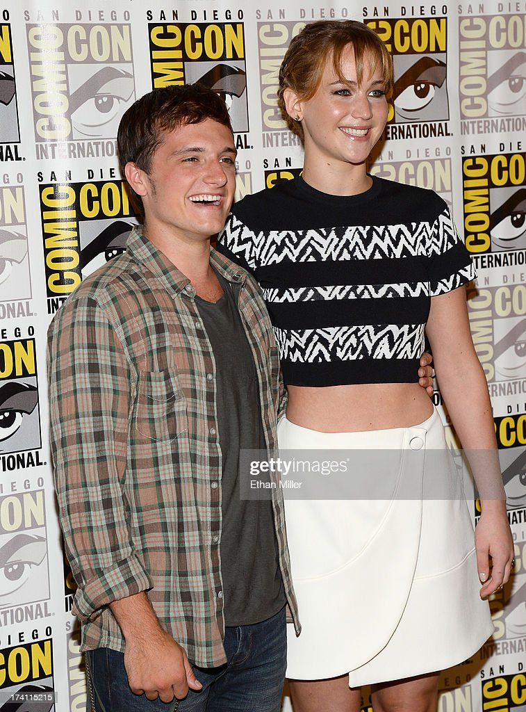 Actors Josh Hutcherson (L) and Jennifer Lawrence attend Lionsgate's 'The Hunger Games: Catching Fire' and 'I, Frankenstein' press line during Comic-Con International 2013 at the Hilton Bayfront on July 20, 2013 in San Diego, California.