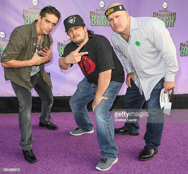 Actors Josh Keaton Andrew Kishino and David Sobolov arrive at Hub Network's 1st annual Halloween bash at Barker Hangar on October 20 2013 in Santa...