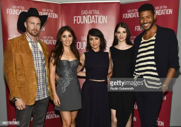 Actors Josh Kelley Shiri Appleby Constance Zimmer Genevieve Buechner and Jeffrey BowyerChapman attend SAGAFTRA Foundation's Conversations with UnREAL...