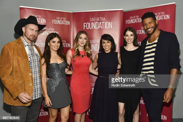 Actors Josh Kelley Shiri Appleby moderator Leanne Aguilera actors Constance Zimmer Genevieve Buechner and Jeffrey BowyerChapman attend SAGAFTRA...