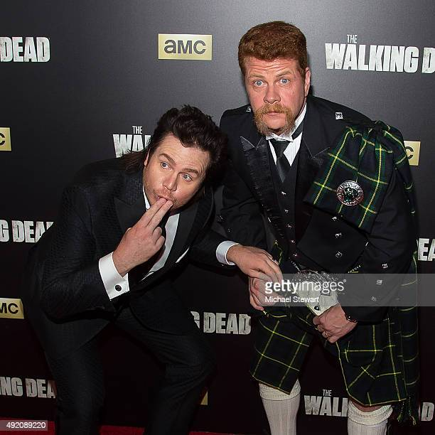 Actors Josh McDermitt and Michael Cudlitz attend 'The Walking Dead' season six premiere at Madison Square Garden on October 9 2015 in New York City