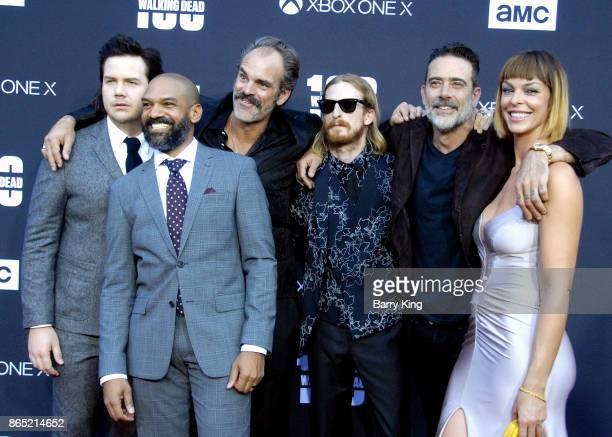 Actors Josh McDermitt Khary Payton Steven Ogg Austin Amelio Jeffrey Dean Morgan and Pollyanna McIntosh attend AMC Celebrates The 100th Episode of...