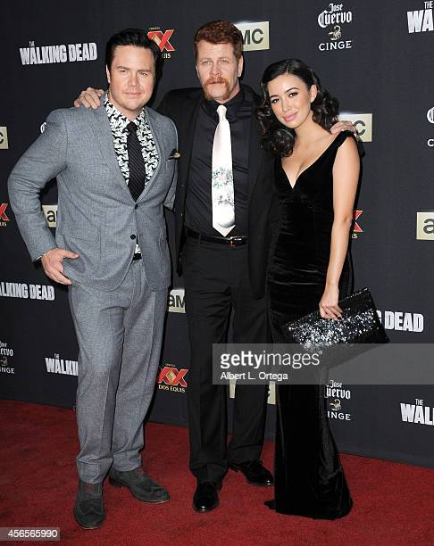 Actors Josh McDermitt Michael Cudlitz and Christian Serratos arrive for the Season 5 Premiere Of 'The Walking Dead' held at AMC Universal City Walk...