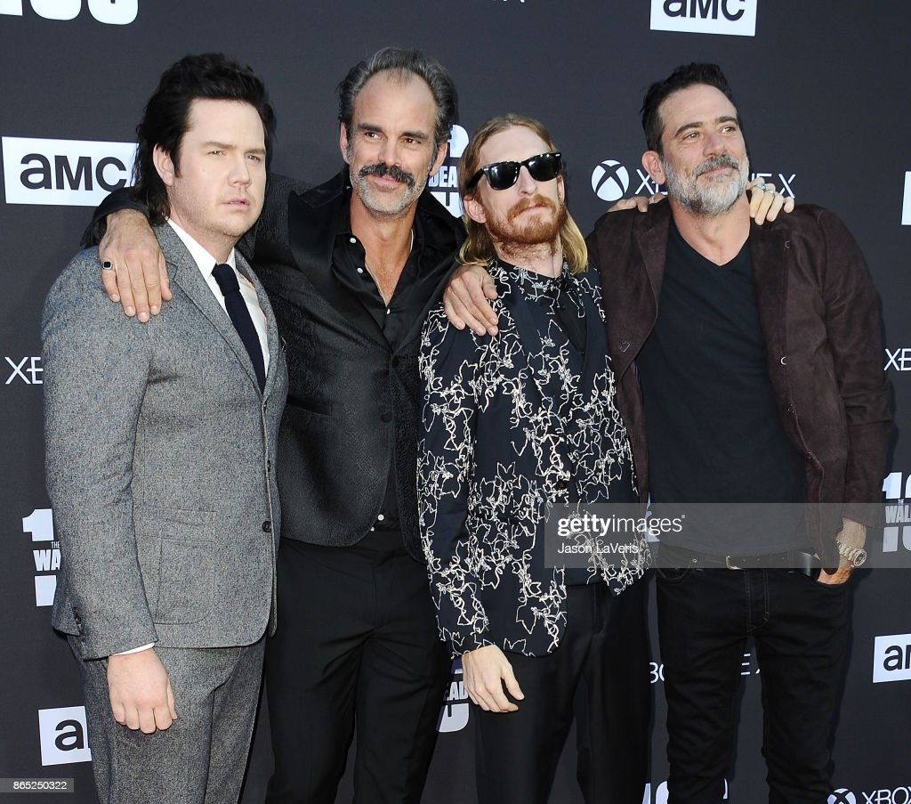 Actors Josh McDermitt, Steven Ogg, Austin Amelio and Jeffrey Dean Morgan attend the 100th episode celebration off 'The Walking Dead' at The Greek Theatre on October 22, 2017 in Los Angeles, California.