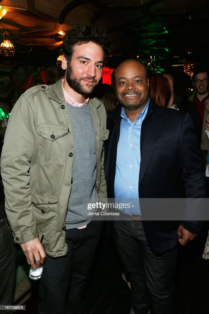 Actors <a gi-track='captionPersonalityLinkClicked' href=/galleries/search?phrase=Josh+Radnor&family=editorial&specificpeople=599413 ng-click='$event.stopPropagation()'>Josh Radnor</a> (L) and Terence Bernie Hines attend the Tribeca Film Festival 2013 After Party 'Before Midnight' sponsored by Heineken on April 22, 2013 in New York City.