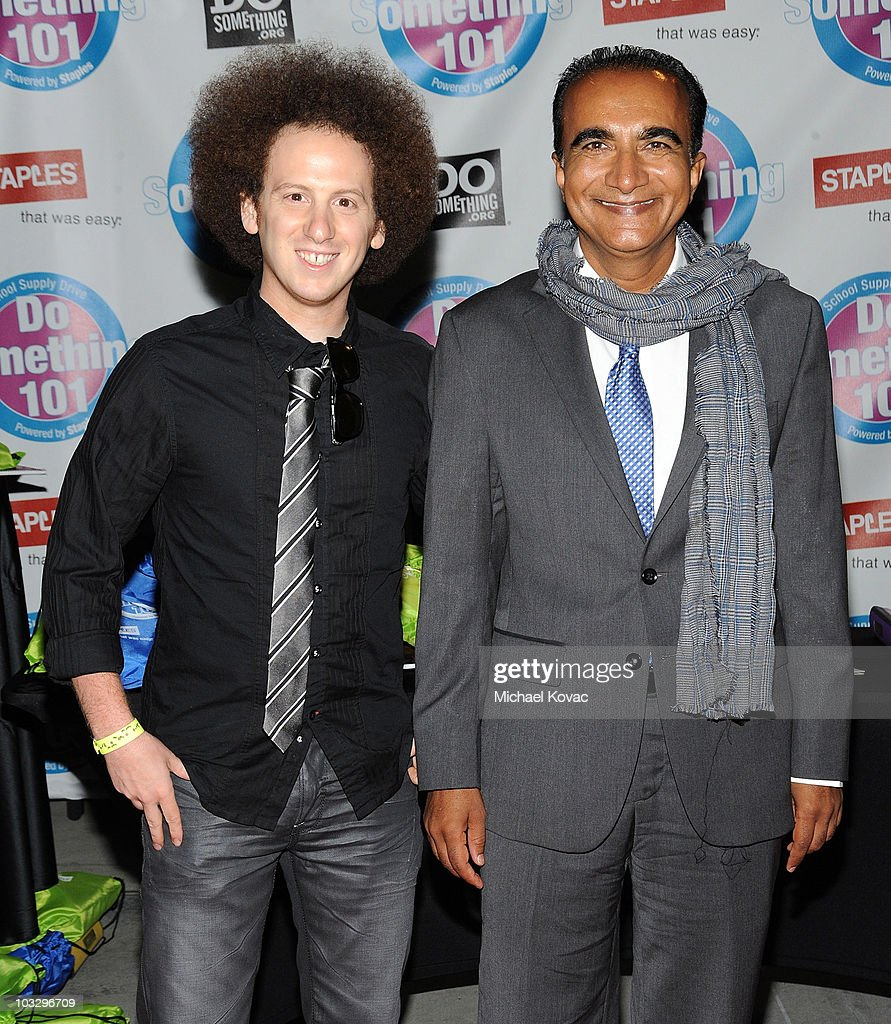 Actors Josh Sussman and Iqbal Theba arrive at the Do Something 101 Back Pack Party at The Globe Theatre at Universal Studios on August 8 2010 in...