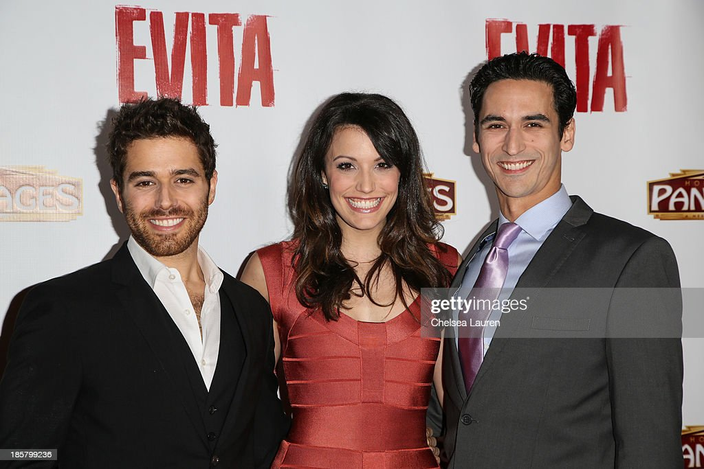 Actors Josh Young, Caroline Bowman, and Sean MacLaughlin arrive at the opening night red carpet for 'Evita' at the Pantages Theatre on October 24, 2013 in Hollywood, California.