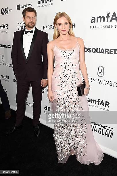 Actors Joshua Jackson and Diane Kruger attend amfAR's Inspiration Gala Los Angeles at Milk Studios on October 29 2015 in Hollywood California
