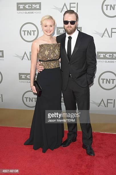 Actors Joshua Leonard and Alison Pill attend the 2014 AFI Life Achievement Award A Tribute to Jane Fonda at the Dolby Theatre on June 5 2014 in...