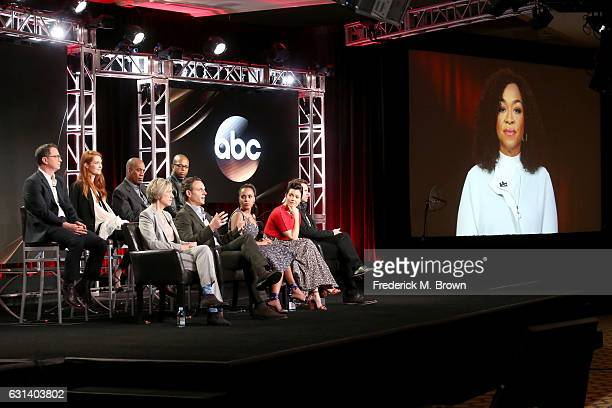 Actors Joshua Malina Darby Stanchfield and Joe Morton Executive Producer Betsy Beers actors Cornelius Smith Jr Tony Goldwyn Kerry Washington Bellamy...